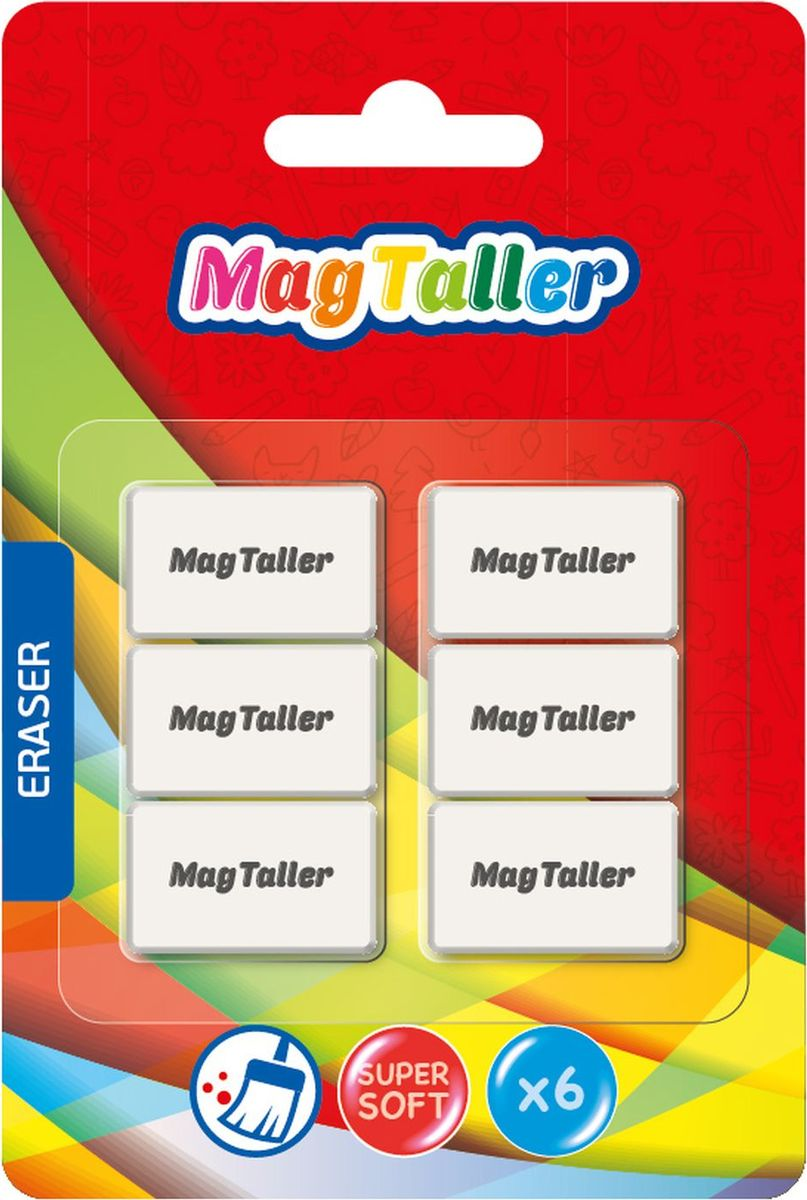 MagTaller Ластик Kumi Mini 6 штFS-36054Супермягкий, не пачкает бумагу, размер 29х18х9мм