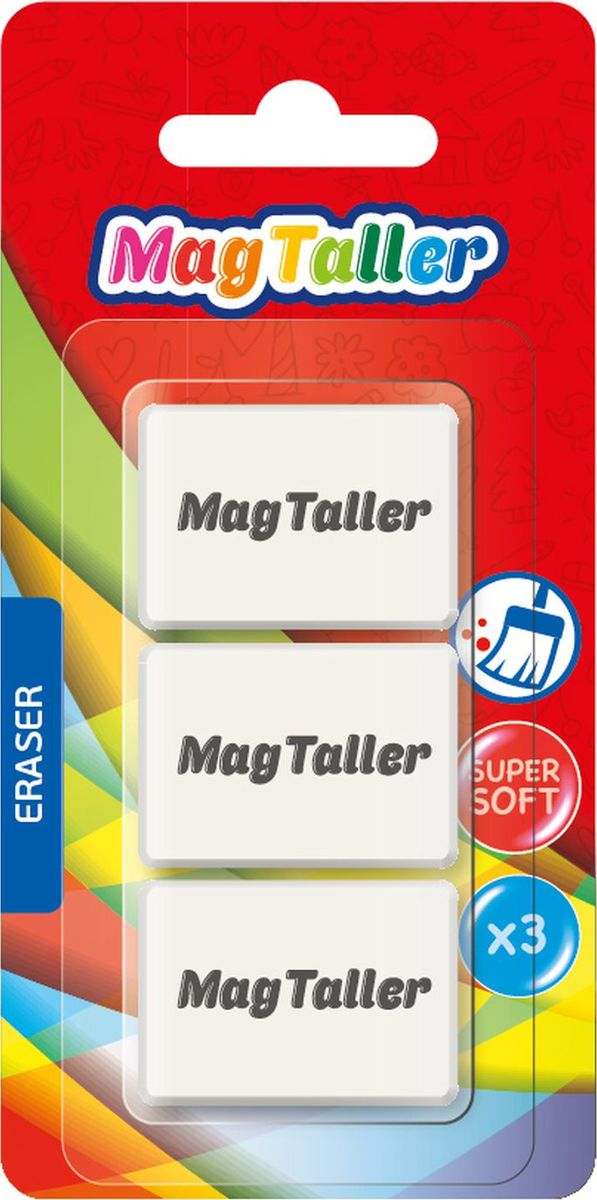 MagTaller Ластик Kumi 3 штFS-36054Супермягкий, не пачкает бумагу, размер 38х28х9мм