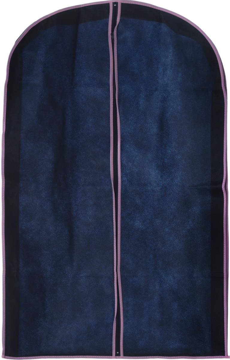 Чехол для хранения одежды Hemline, на молнии, цвет: темно-синий, розовый, 60 х 9 х 100 смБрелок для ключейЧехол для хранения одежды Hemline выполнен из специального дышащего нетканого материала (спанбонд), поэтому одежда вентилируется даже во время долгого хранения. Одежда в таком чехле сохранится чистой и свежей. Изделие оснащено удобной и качественной молнией.