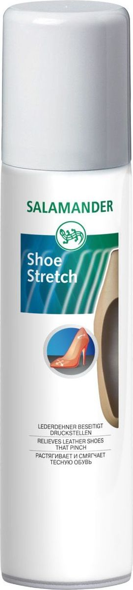 Средство для растяжки обуви Salamander. ShoeStretch, 75 млMW-3101Salamander Растяжка для обуви ShoeStretch эффективное средство для размягчения и растяжки тесной и неудобной обуви из всех видов натуральной кожи. Корректирует форму, делает обувь более комфортной.