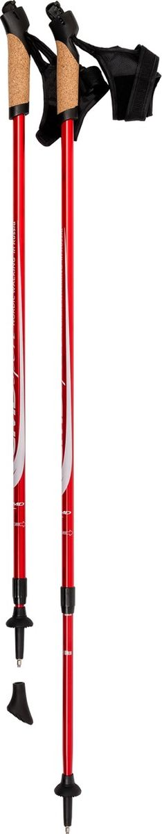 Палки для скандинавской ходьбы CMD Sport, телескопические, цвет: красный, S-M, длина 90-140 см, 2 штCMD-red-S-MТелескопические алюминиевые палки для скандинавской ходьбы CMD Sport красного цвета. Палки состоят из двух секций, и имеют размер 87 см в сложенном виде. Такие палки удобны при транспортировке, их можно положить в чехол или оставить в автомобиле до очередного занятия.Палки для скандинавской ходьбы CMD Sport выполнены из прочного алюминия, и прекрасно подойдут новичкам для освоения правильной техники скандинавской ходьбы. Каждая пара палок укомплектована резиновыми наконечниками для ходьбы по асфальту. При занятиях в парке на грунте, песке или по снегу можно использовать металлические наконечники, которые изготовлены из вольфрама, и прослужат вам не один сезон. Ручки скандинавских палок CMD Sport эргономичной формы и изготовлены из пластика со вставкой из натуральной пробки по всей окружности палок. Темляки телескопических палок CMD Sport красного цвета являются несъемными, но имеют хорошую систему регулировки. С такими палками вы можете освоить рациональную технику скандинавской ходьбы. Палки для финской ходьбы CMD Sport легки в использовании и практичны, благодаря телескопической конструкции могут быть использованы ходоками с разным ростом. Они станут прекрасным подарком близким людям.Основной цвет: красныйВысота: регулируемая (телескоп.)Размер: 90-140 смСостав: алюминиевый сплавРучка: PP with cork (полипроп./пробка)Темляк: ComFit C, несъемныйРазмер темляка: S/M или L/XLНаконечник: Несъемный металлический для грунтаНасадка: резиновый башмакНе подлежит обязательной сертификацииСрок службы 5 летГарантия на палки для скандинавской ходьбы действует в течение 30 дней с момента покупки, распространяется только на древко палок, не распространяется на комплектующие принадлежности (темляки, наконечники). Гарантийным случаем не является:- неисправность, возникшая по вине Покупателя (неправильная эксплуатация, несоблюдение техники скандинавской ходьбы, механические п