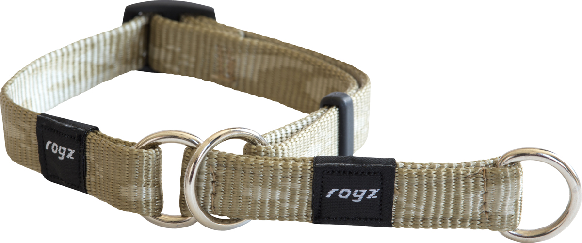 Полуудавка для собак Rogz Alpinist, цвет: золотистый, ширина 1,6 см. Размер M0120710Ошейник-полуудавка Rogz Alpinist изготовлен из нейлона, металла и пластика. Высококачественные ленты Rogz мягкие в руках, но обладают высокой прочностью. Особое плетение полотна способствует увеличению уровня прочности и защиты. Специальная конструкция пряжки Rog Loc - очень крепкая (система Fort Knox). Замок может быть расстегнут только рукой человека. Технология распределения нагрузки позволяет снизить нагрузку на пряжки, изготовленные из титанового пластика, с помощью правильного и разумного расположения грузовых колец.Особые контурные пластиковые компоненты. Специальная округлая форма конструкции позволяет ошейнику комфортно облегать шею собаки.Выполненные специально по заказу Rogz литые кольца гальванически хромированы, что позволяет избежать коррозии и потускнения изделия.