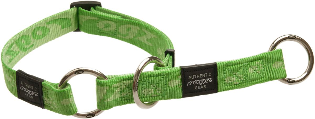 Полуудавка для собак Rogz Alpinist, цвет: зеленый, ширина 2,5 см. Размер XL0120710Ошейник-полуудавка Rogz Alpinist изготовлен из нейлона, металла и пластика. Высококачественные ленты Rogz мягкие в руках, но обладают высокой прочностью. Особое плетение полотна способствует увеличению уровня прочности и защиты. Специальная конструкция пряжки Rog Loc - очень крепкая (система Fort Knox). Замок может быть расстегнут только рукой человека. Технология распределения нагрузки позволяет снизить нагрузку на пряжки, изготовленные из титанового пластика, с помощью правильного и разумного расположения грузовых колец.Особые контурные пластиковые компоненты. Специальная округлая форма конструкции позволяет ошейнику комфортно облегать шею собаки.Выполненные специально по заказу Rogz литые кольца гальванически хромированы, что позволяет избежать коррозии и потускнения изделия.