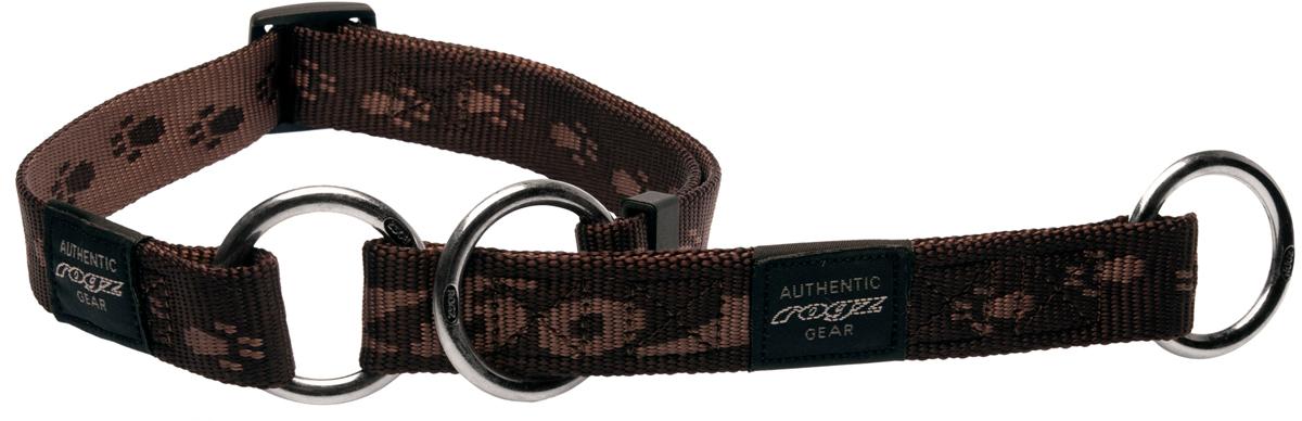 Полуудавка для собак Rogz Alpinist, цвет: коричневый, ширина 2,5 см. Размер XL0120710Ошейник-полуудавка Rogz Alpinist изготовлен из нейлона, металла и пластика. Высококачественные ленты Rogz мягкие в руках, но обладают высокой прочностью. Особое плетение полотна способствует увеличению уровня прочности и защиты. Специальная конструкция пряжки Rog Loc - очень крепкая (система Fort Knox). Замок может быть расстегнут только рукой человека. Технология распределения нагрузки позволяет снизить нагрузку на пряжки, изготовленные из титанового пластика, с помощью правильного и разумного расположения грузовых колец.Особые контурные пластиковые компоненты. Специальная округлая форма конструкции позволяет ошейнику комфортно облегать шею собаки.Выполненные специально по заказу Rogz литые кольца гальванически хромированы, что позволяет избежать коррозии и потускнения изделия.