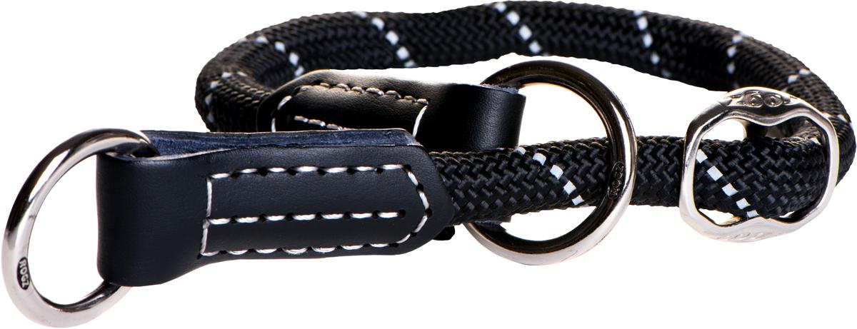 Полуудавка для собак Rogz Rope, цвет: черный, ширина 0,9 см. Размер M. HBR094012171996Полуудавка для собак Rogz Rope сделана из очень мягкого, но прочного нейлона, который не причинит неудобства собаке. Высококачественная тесьма особого плетения, удивительно мягкая на ощупь, не стирает и не путает шерсть даже длинношерстным собакам. Особо прочный закругленный нейлон препятствует разгрызанию и деформации изделий, а узкая поверхность ошейников-полуудавок помогает при дрессуре, мешая собаке тянуть поводок.Выполненные по заказу литые кольца выдерживают значительные физические нагрузки и имеют хромирование, нанесенное гальваническим способом, что позволяет избежать коррозии и потускнения изделия.Светоотражающая нить, вплетенная в нейлоновую ленту, обеспечивает видимость животного в темное время суток.Элементы изделия выполнены из 100% кожи. Полотно: нейлон. Манжета: 100% натуральная кожа.
