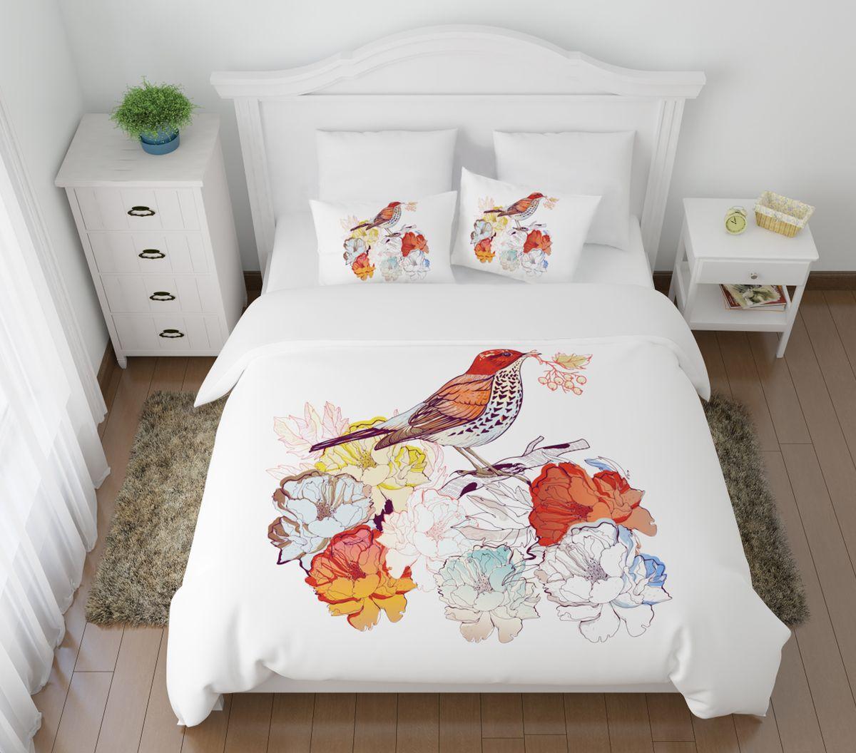 Комплект белья Сирень Лесная птичка, 2-спальный, наволочки 50х70S03301004Комплект постельного белья Сирень 2-х спальный выполнен из прочной и мягкой ткани. Четкий и стильный рисунок в сочетании с насыщенными красками делают комплект постельного белья неповторимой изюминкой любого интерьера. Постельное белье идеально подойдет для подарка. Идеальное соотношение смешенной ткани и гипоаллергенных красок это гарантия здорового, спокойного сна. Ткань хорошо впитывает влагу, надолго сохраняет яркость красок. Цвет простыни, пододеяльника, наволочки в комплектации может немного отличаться от представленного на фото.В комплект входят: простыня - 200х220см; пододельяник 175х210 см; наволочка - 50х70х2шт. Постельное белье легко стирать при 30-40 градусах, гладить при 150 градусах, не отбеливать.Рекомендуется перед первым изпользованием постирать.