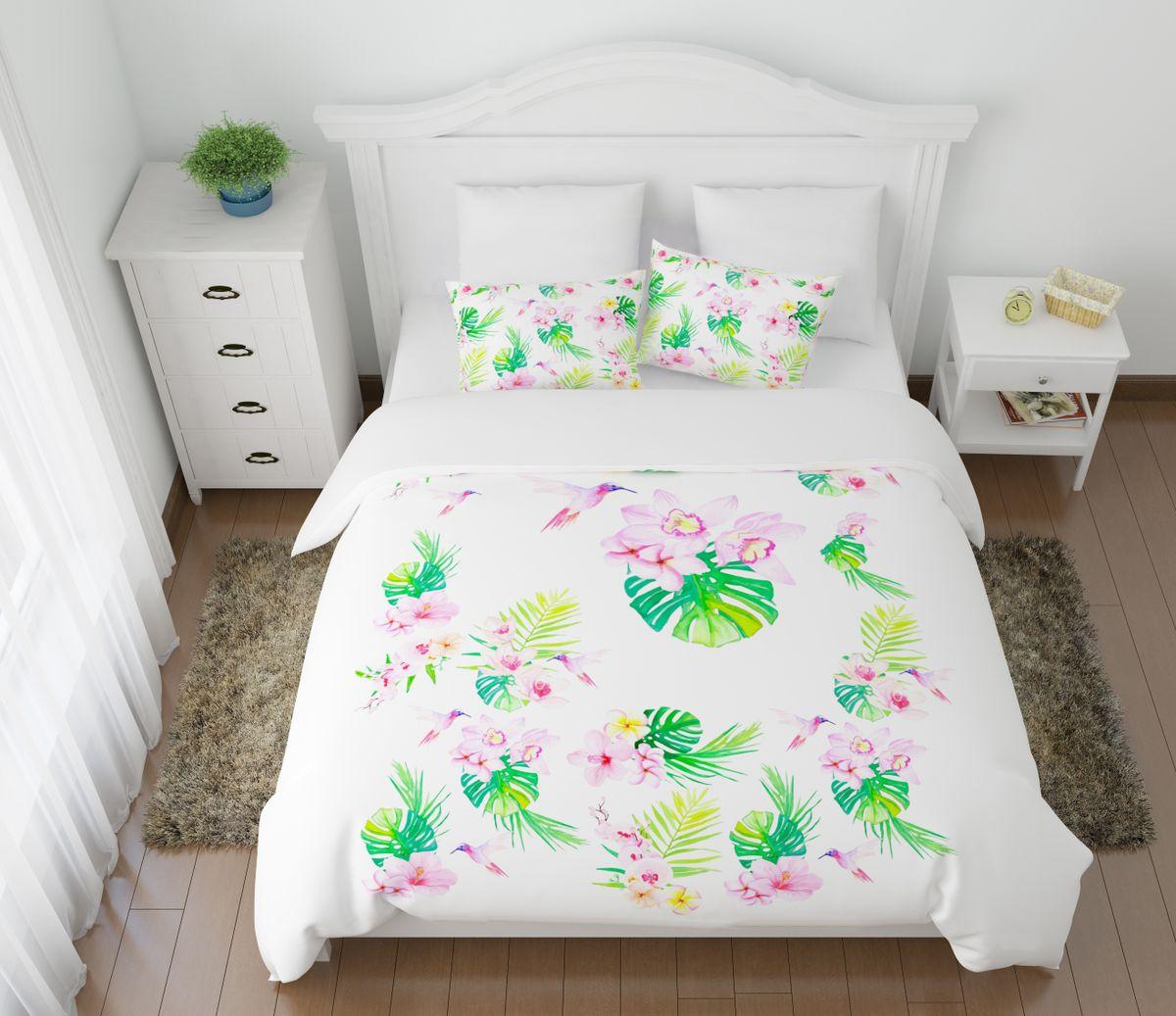 Комплект белья Сирень Утро в тропиках, 2-спальный, наволочки 50х70ES-412Комплект постельного белья Сирень 2-х спальный выполнен из прочной и мягкой ткани. Четкий и стильный рисунок в сочетании с насыщенными красками делают комплект постельного белья неповторимой изюминкой любого интерьера. Постельное белье идеально подойдет для подарка. Идеальное соотношение смешенной ткани и гипоаллергенных красок это гарантия здорового, спокойного сна. Ткань хорошо впитывает влагу, надолго сохраняет яркость красок. Цвет простыни, пододеяльника, наволочки в комплектации может немного отличаться от представленного на фото.В комплект входят: простыня - 200х220см; пододельяник 175х210 см; наволочка - 50х70х2шт. Постельное белье легко стирать при 30-40 градусах, гладить при 150 градусах, не отбеливать.Рекомендуется перед первым изпользованием постирать.