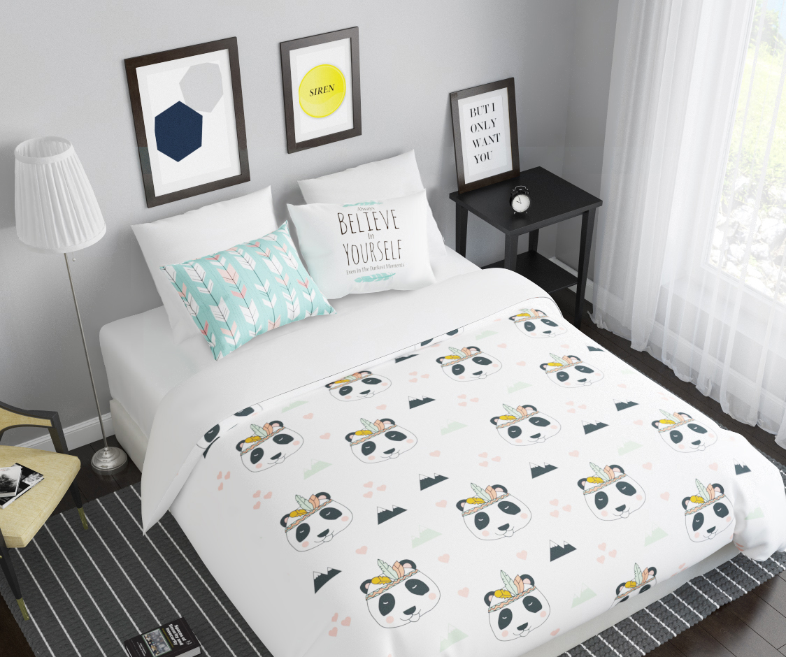 Комплект белья Сирень Панда, 2-спальный, наволочки 50х70391602Комплект постельного белья Сирень 2-х спальный выполнен из прочной и мягкой ткани. Четкий и стильный рисунок в сочетании с насыщенными красками делают комплект постельного белья неповторимой изюминкой любого интерьера. Постельное белье идеально подойдет для подарка. Идеальное соотношение смешенной ткани и гипоаллергенных красок это гарантия здорового, спокойного сна. Ткань хорошо впитывает влагу, надолго сохраняет яркость красок. Цвет простыни, пододеяльника, наволочки в комплектации может немного отличаться от представленного на фото.В комплект входят: простыня - 200х220см; пододельяник 175х210 см; наволочка - 50х70х2шт. Постельное белье легко стирать при 30-40 градусах, гладить при 150 градусах, не отбеливать.Рекомендуется перед первым изпользованием постирать.