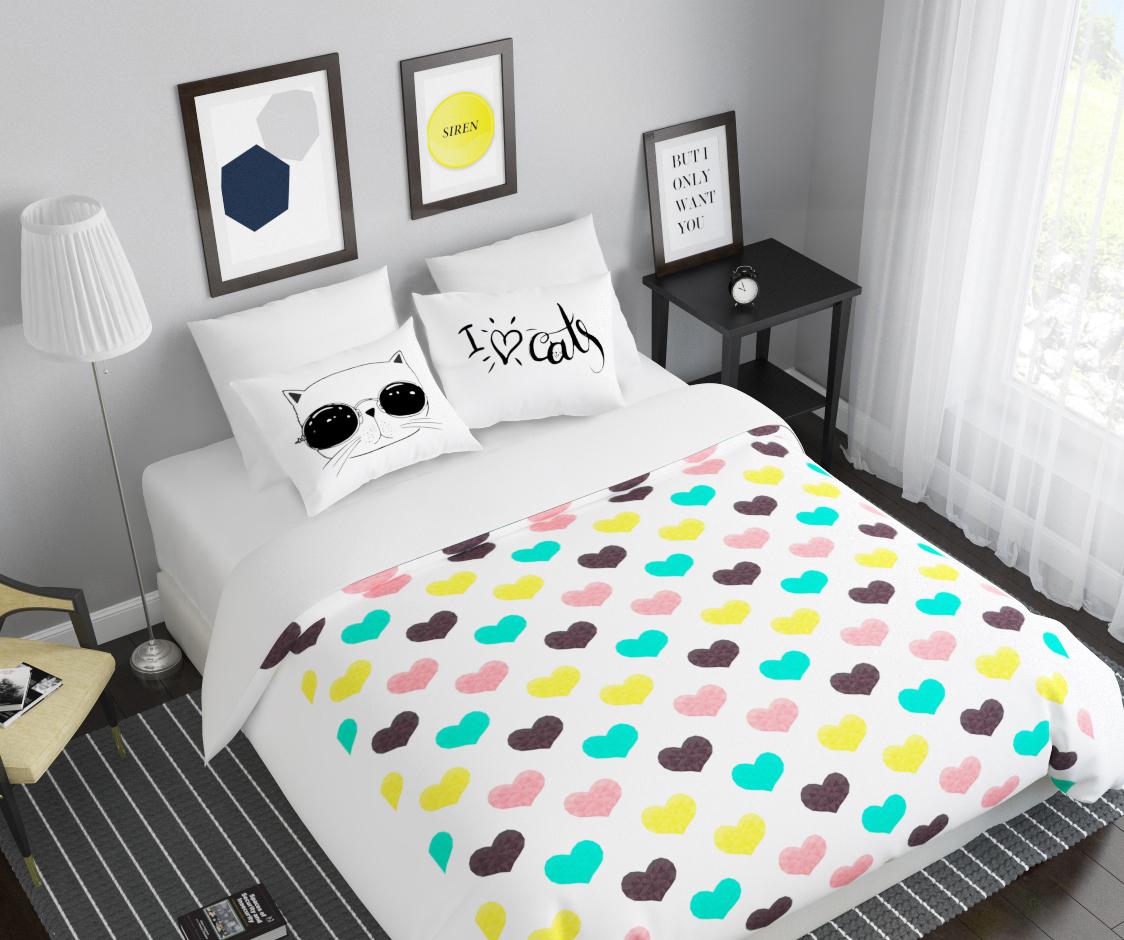 Комплект белья Сирень Люблю котов, 2-спальный, наволочки 50х70FA-5125 WhiteКомплект постельного белья Сирень выполнен из прочной и мягкой ткани. Четкий и стильный рисунок в сочетании с насыщенными красками делают комплект постельного белья неповторимой изюминкой любого интерьера.Постельное белье идеально подойдет для подарка. Идеальное соотношение смешенной ткани и гипоаллергенных красок - это гарантия здорового, спокойного сна. Ткань хорошо впитывает влагу, надолго сохраняет яркость красок.В комплект входят: простынь, пододеяльник, две наволочки. Постельное белье легко стирать при 30-40°С, гладить при 150°С, не отбеливать. Рекомендуется перед первым использованием постирать.УВАЖАЕМЫЕ КЛИЕНТЫ! Обращаем ваше внимание, что цвет простыни, пододеяльника, наволочки в комплектации может немного отличаться от представленного на фото.