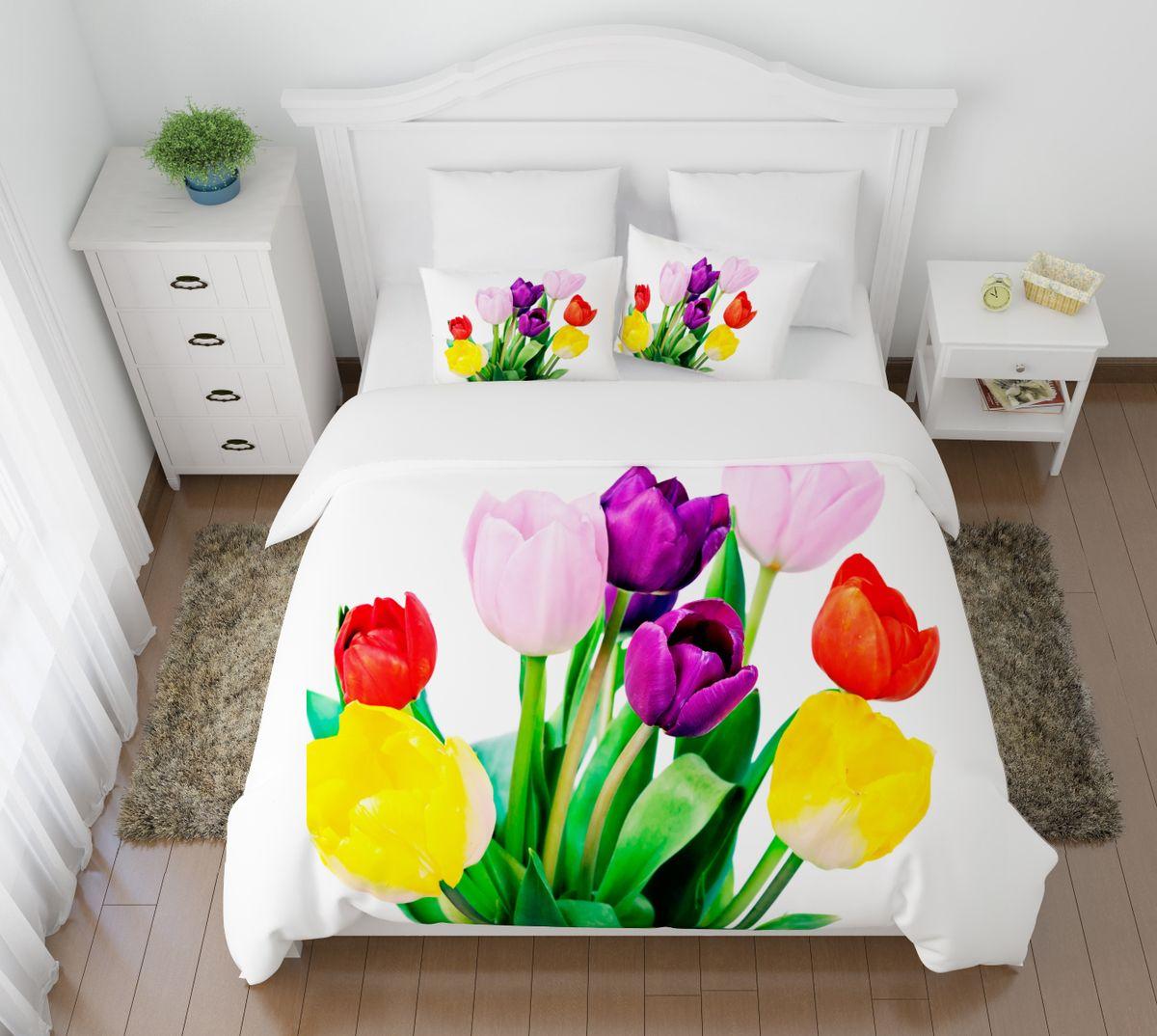 Комплект белья Сирень Весенние цветы, 2-спальный, наволочки 50х70391602Комплект постельного белья Сирень 2-х спальный выполнен из прочной и мягкой ткани. Четкий и стильный рисунок в сочетании с насыщенными красками делают комплект постельного белья неповторимой изюминкой любого интерьера. Постельное белье идеально подойдет для подарка. Идеальное соотношение смешенной ткани и гипоаллергенных красок это гарантия здорового, спокойного сна. Ткань хорошо впитывает влагу, надолго сохраняет яркость красок. Цвет простыни, пододеяльника, наволочки в комплектации может немного отличаться от представленного на фото.В комплект входят: простыня - 200х220см; пододельяник 175х210 см; наволочка - 50х70х2шт. Постельное белье легко стирать при 30-40 градусах, гладить при 150 градусах, не отбеливать.Рекомендуется перед первым изпользованием постирать.
