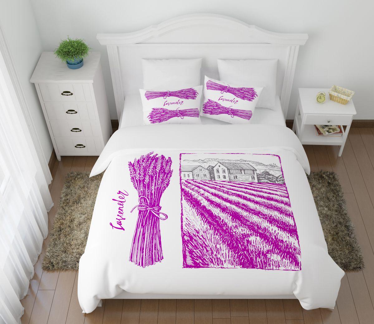 Комплект белья Сирень Лавандовый прованс, 2-спальный, наволочки 50х70VCA-00Комплект постельного белья Сирень 2-х спальный выполнен из прочной и мягкой ткани. Четкий и стильный рисунок в сочетании с насыщенными красками делают комплект постельного белья неповторимой изюминкой любого интерьера. Постельное белье идеально подойдет для подарка. Идеальное соотношение смешенной ткани и гипоаллергенных красок это гарантия здорового, спокойного сна. Ткань хорошо впитывает влагу, надолго сохраняет яркость красок. Цвет простыни, пододеяльника, наволочки в комплектации может немного отличаться от представленного на фото.В комплект входят: простыня - 200х220см; пододельяник 175х210 см; наволочка - 50х70х2шт. Постельное белье легко стирать при 30-40 градусах, гладить при 150 градусах, не отбеливать.Рекомендуется перед первым изпользованием постирать.