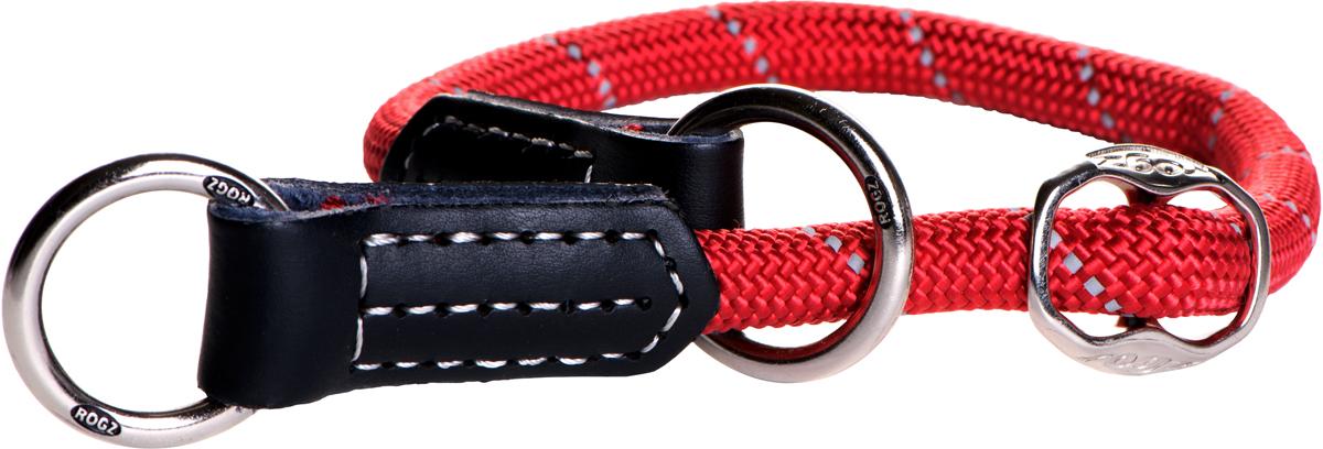 Полуудавка для собак Rogz Rope, цвет: красный, ширина 1,2 см. Размер L0120710Полуудавка для собак Rogz Rope сделана из очень мягкого, но прочного нейлона, который не причинит неудобства собаке. Высококачественная тесьма особого плетения, удивительно мягкая на ощупь, не стирает и не путает шерсть даже длинношерстным собакам. Особо прочный закругленный нейлон препятствует разгрызанию и деформации изделий, а узкая поверхность ошейников-полуудавок помогает при дрессуре, мешая собаке тянуть поводок.Выполненные по заказу литые кольца выдерживают значительные физические нагрузки и имеют хромирование, нанесенное гальваническим способом, что позволяет избежать коррозии и потускнения изделия.Светоотражающая нить, вплетенная в нейлоновую ленту, обеспечивает видимость животного в темное время суток.Элементы изделия выполнены из 100% кожи. Полотно: нейлон. Манжета: 100% натуральная кожа.