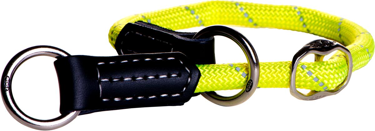 Полуудавка для собак Rogz Rope, цвет: желтый, ширина 1,2 см. Размер L0120710Полуудавка для собак Rogz Rope сделана из очень мягкого, но прочного нейлона, который не причинит неудобства собаке. Высококачественная тесьма особого плетения, удивительно мягкая на ощупь, не стирает и не путает шерсть даже длинношерстным собакам. Особо прочный закругленный нейлон препятствует разгрызанию и деформации изделий, а узкая поверхность ошейников-полуудавок помогает при дрессуре, мешая собаке тянуть поводок.Выполненные по заказу литые кольца выдерживают значительные физические нагрузки и имеют хромирование, нанесенное гальваническим способом, что позволяет избежать коррозии и потускнения изделия.Светоотражающая нить, вплетенная в нейлоновую ленту, обеспечивает видимость животного в темное время суток.Элементы изделия выполнены из 100% кожи. Полотно: нейлон. Манжета: 100% натуральная кожа.