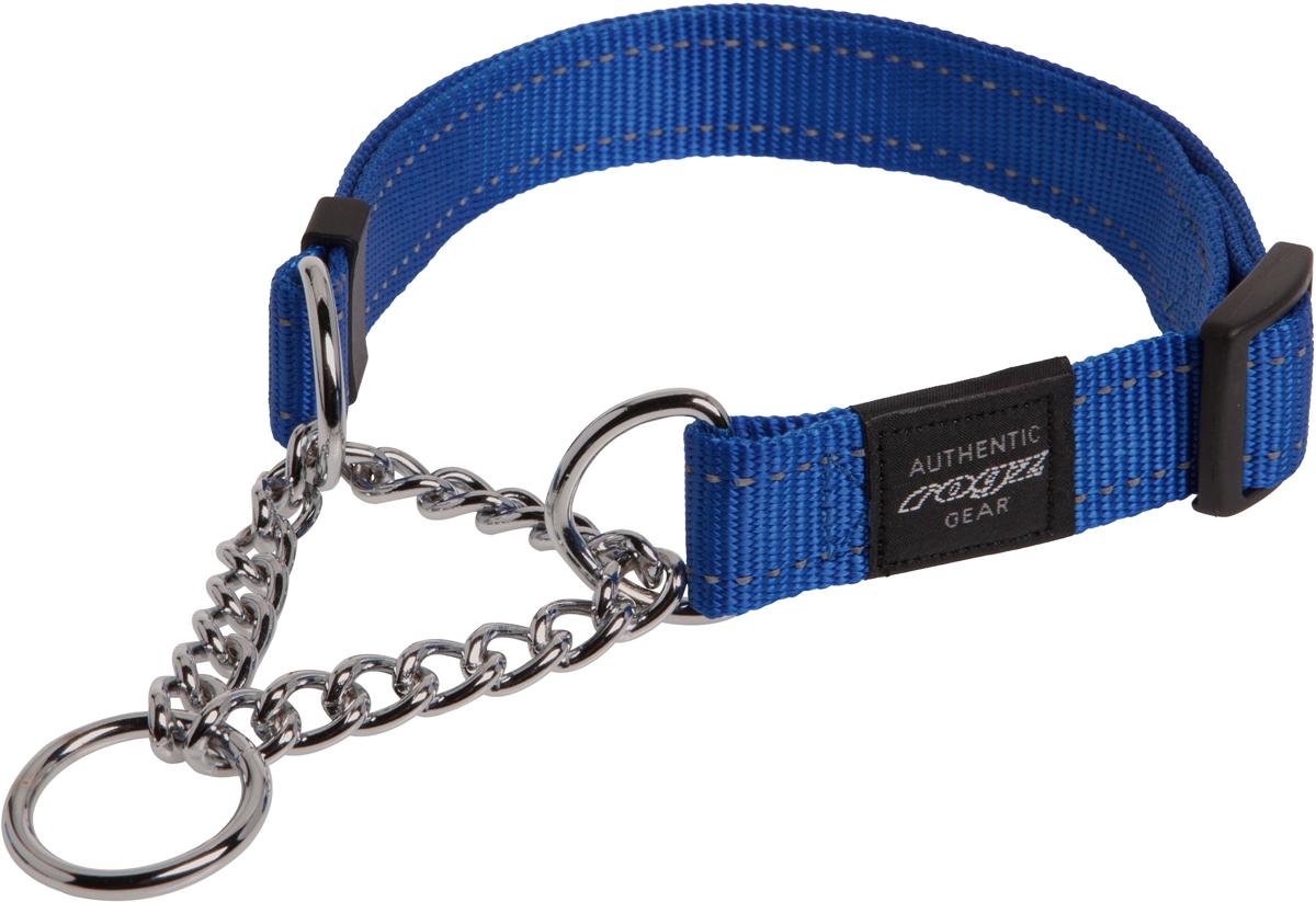 Полуудавка для собак Rogz Utility, цвет: синий, ширина 2 см. Размер L12171996Полуудавка для собак Rogz Utility  со светоотражающей нитью, вплетенной в нейлоновую ленту, обеспечивает лучшую видимость собаки в темное время суток. Специальная конструкция пряжки Rog Loc - очень крепкая (система Fort Knox). Замок может быть расстегнут только рукой человека. Технология распределения нагрузки позволяет снизить нагрузку на пряжки, изготовленные из титанового пластика, с помощью правильного и разумного расположения грузовых колец. Специальная округлая форма конструкции позволяет ошейнику комфортно облегать шею собаки.