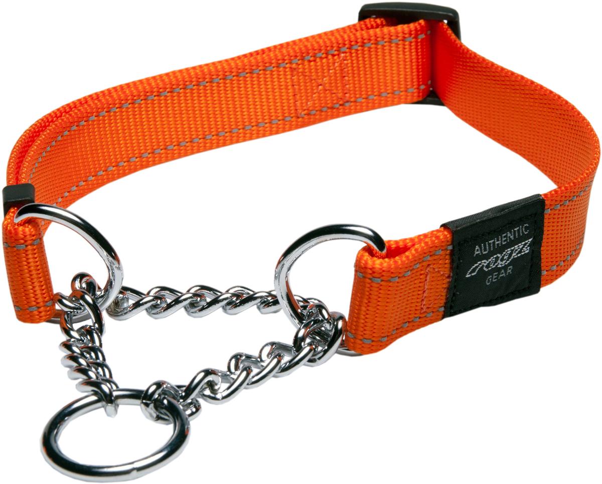 Полуудавка для собак Rogz Utility, цвет: оранжевый, ширина 2 см. Размер L0120710Полуудавка для собак Rogz Utility  со светоотражающей нитью, вплетенной в нейлоновую ленту, обеспечивает лучшую видимость собаки в темное время суток. Специальная конструкция пряжки Rog Loc - очень крепкая (система Fort Knox). Замок может быть расстегнут только рукой человека. Технология распределения нагрузки позволяет снизить нагрузку на пряжки, изготовленные из титанового пластика, с помощью правильного и разумного расположения грузовых колец. Специальная округлая форма конструкции позволяет ошейнику комфортно облегать шею собаки.