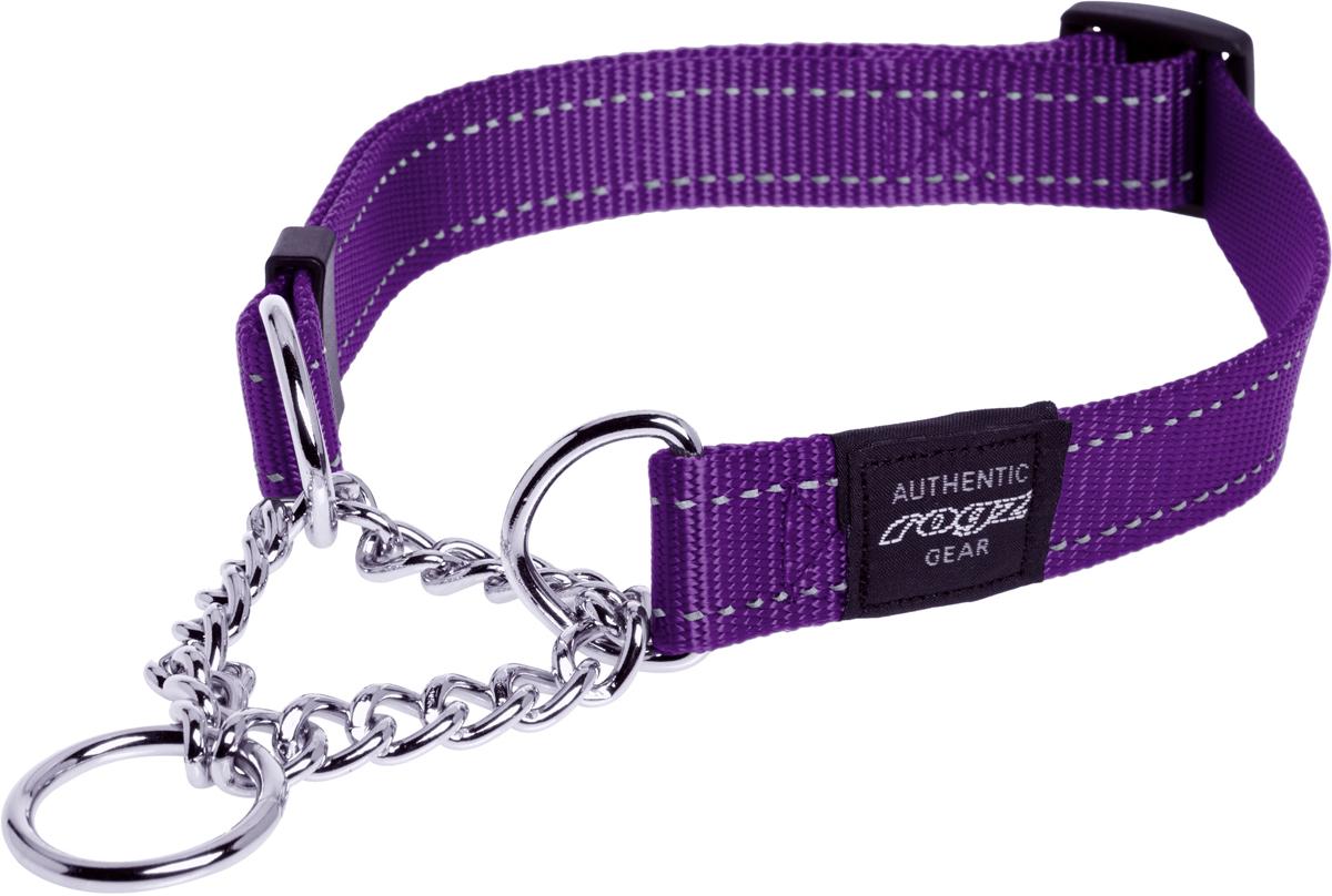 Полуудавка для собак Rogz Utility, цвет: фиолетовый, ширина 1,6 см. Размер M0120710Полуудавка для собак Rogz Utility  со светоотражающей нитью, вплетенной в нейлоновую ленту, обеспечивает лучшую видимость собаки в темное время суток. Специальная конструкция пряжки Rog Loc - очень крепкая (система Fort Knox). Замок может быть расстегнут только рукой человека. Технология распределения нагрузки позволяет снизить нагрузку на пряжки, изготовленные из титанового пластика, с помощью правильного и разумного расположения грузовых колец. Специальная округлая форма конструкции позволяет ошейнику комфортно облегать шею собаки.