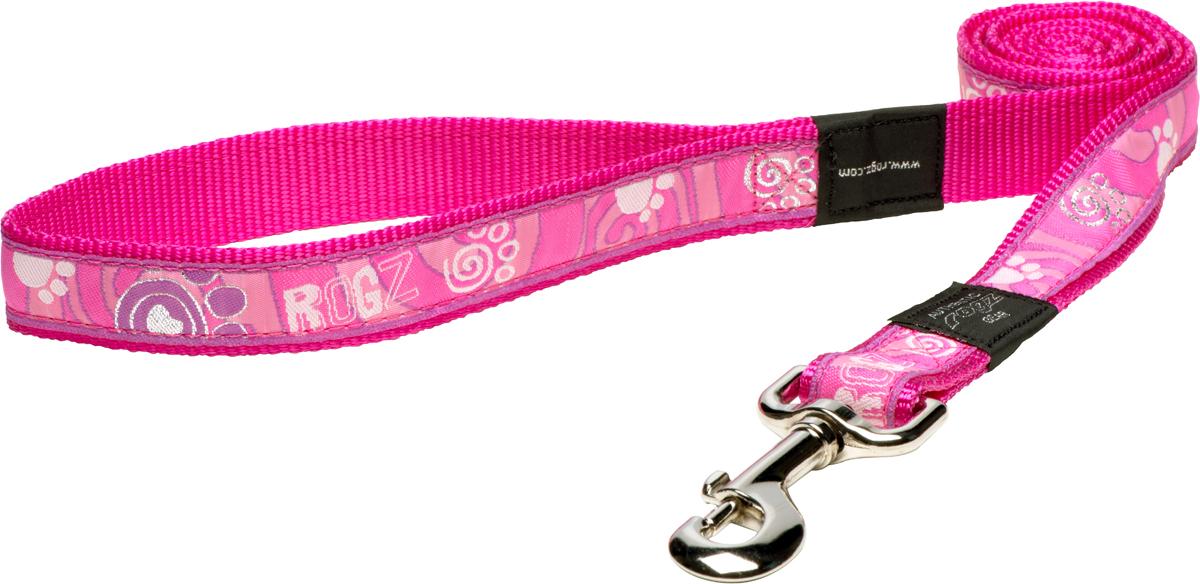 Поводок для собак Rogz Fancy Dress, цвет: голубой, ширина 2,5 смHL02BSПоводок для собак Rogz Fancy Dress с потрясающе красивым орнаментом на прочной тесьме поверх нейлоновой ленты украсит вашего питомца.Необыкновенно крепкий и прочный поводок.Выполненные по заказу литые кольца выдерживают значительные физические нагрузки и имеют хромирование, нанесенное гальваническим способом, что позволяет избежать коррозии и потускнения изделия.