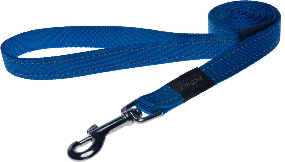 Поводок для собак Rogz Utility, цвет: синий, ширина 2,5 см. Размер XL990908_оранжевыйПоводок для собак Rogz Utility  со светоотражающей нитью, вплетенной в нейлоновую ленту, обеспечивает лучшую видимость собаки в темное время суток. Специальная конструкция пряжки Rog Loc - очень крепкая (система Fort Knox). Замок может быть расстегнут только рукой человека. Технология распределения нагрузки позволяет снизить нагрузку на пряжки, изготовленные из титанового пластика, с помощью правильного и разумного расположения грузовых колец, благодаря чему, даже при самых сильных рывках, изделие не рвется и не деформируется.Выполненные специально по заказу ROGZ литые кольца гальванически хромированы, что позволяет избежать коррозии и потускнения изделия.