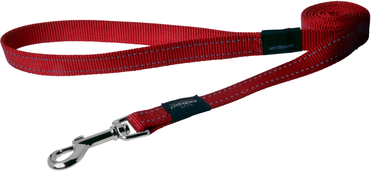 Поводок для собак Rogz Utility, цвет: красный, ширина 2,5 см. Размер XL0120710Поводок для собак Rogz Utility представляет собой мягкую, но в то же время прочную нейлоновую ленту. Особое плетение полотна способствует увеличению уровня прочности и защиты. Светоотражающая нить, вплетенная в нейлоновую ленту, обеспечивает лучшую видимости собаки в темное время суток. Поводок снабжен мощным карабином, изготовленным методом цинкового литья. Карабин гальванически хромирован, что позволяет избежать коррозии и потускнения изделия. Длина и ширина поводка идеальна для собак крупных пород, таких как ротвейлер, риджбек, лабрадор. Длина поводка: 120 см. Ширина поводка: 2,5 см.