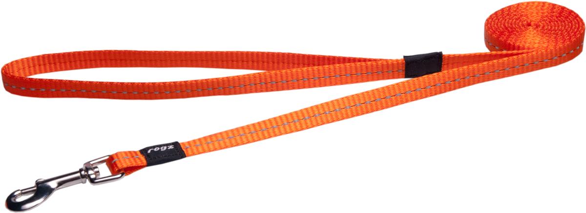Поводок для собак Rogz Utility, цвет: оранжевый, ширина 1,1 см. Размер S0120710Поводок для собак Rogz Utility  со светоотражающей нитью, вплетенной в нейлоновую ленту, обеспечивает лучшую видимость собаки в темное время суток. Специальная конструкция пряжки Rog Loc - очень крепкая (система Fort Knox). Замок может быть расстегнут только рукой человека. Технология распределения нагрузки позволяет снизить нагрузку на пряжки, изготовленные из титанового пластика, с помощью правильного и разумного расположения грузовых колец, благодаря чему, даже при самых сильных рывках, изделие не рвется и не деформируется.Выполненные специально по заказу ROGZ литые кольца гальванически хромированы, что позволяет избежать коррозии и потускнения изделия.