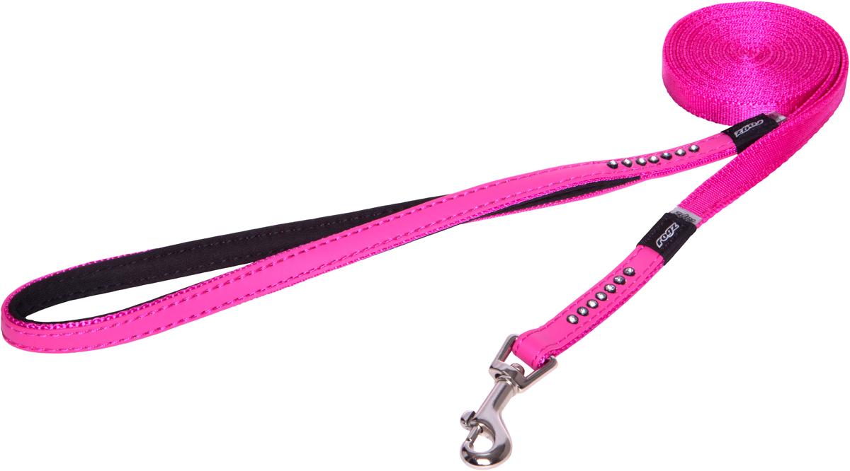Поводок для собак Rogz Luna, удлиненный, цвет: розовый, ширина 1,1 см. Размер XSHLL500KПоводок для собак Rogz Luna изготовлен из 100% полиэстера, искусственной кожи и снабжен металлическим карабином. Поводок украшен стразами.Поводок отличается не только исключительной надежностью и удобством, но и ярким дизайном. Он идеально подойдет для активных собак, для прогулок на природе и охоты. Поводок - необходимый аксессуар для собаки. Ведь в опасных ситуациях именно он способен спасти жизнь вашему любимому питомцу.
