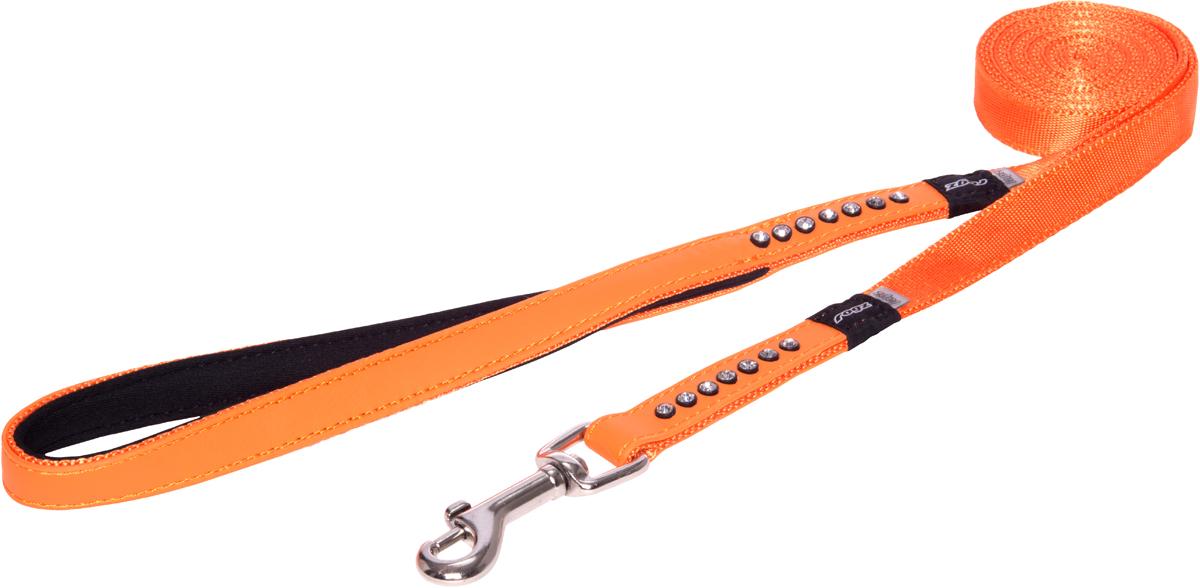 Поводок для собак Rogz Luna, удлиненный, цвет: оранжевый, ширина 1,6 см. Размер MHLL503DПоводок для собак Rogz Luna изготовлен из 100% полиэстера, искусственной кожи и снабжен металлическим карабином. Поводок украшен стразами.Поводок отличается не только исключительной надежностью и удобством, но и ярким дизайном. Он идеально подойдет для активных собак, для прогулок на природе и охоты. Поводок - необходимый аксессуар для собаки. Ведь в опасных ситуациях именно он способен спасти жизнь вашему любимому питомцу.