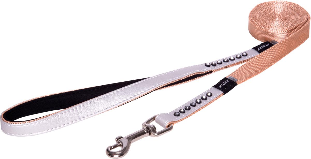Поводок для собак Rogz Luna, удлиненный, цвет: белый, ширина 1,6 см. Размер M0120710Поводок для собак Rogz Luna изготовлен из 100% полиэстера, искусственной кожи и снабжен металлическим карабином. Поводок украшен стразами.Поводок отличается не только исключительной надежностью и удобством, но и ярким дизайном. Он идеально подойдет для активных собак, для прогулок на природе и охоты. Поводок - необходимый аксессуар для собаки. Ведь в опасных ситуациях именно он способен спасти жизнь вашему любимому питомцу.