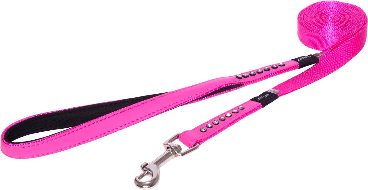 Поводок для собак Rogz Luna, цвет: розовый, ширина 1,6 см, длина 1,8 м. Размер M12171996Поводок для собак Rogz Luna изготовлен из 100% полиэстера, искусственной кожи и снабжен металлическим карабином. Поводок украшен стразами.Поводок отличается не только исключительной надежностью и удобством, но и ярким дизайном. Он идеально подойдет для активных собак, для прогулок на природе и охоты. Поводок - необходимый аксессуар для собаки. Ведь в опасных ситуациях именно он способен спасти жизнь вашему любимому питомцу.Длина поводка: 1,8 м.Ширина поводка: 1,6 см.