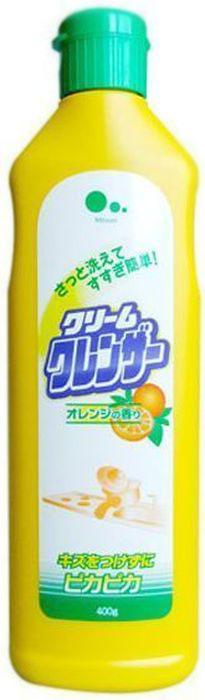 Крем для очищения поверхностей без царапин Mitsuei, с ароматом апельсина, 400 г40535Кремовый очиститель прекрасно очищает различные виды загрязнений: гарь, накипь, чайный налет, ржавчину и др. Тщательно отмывает, не оставляя царапин, и полирует до блеска благодаря содержания апельсинового масла. Подходит для раковин, газовых плит, газовых духовок, утвари для приготовления пищи (сковородок, кастрюль, кухонных ножей, разделочных досок и др.), металлической, стеклянной и керамической посуды, кранов. Так же идеален для стеклокерамических поверхностей.