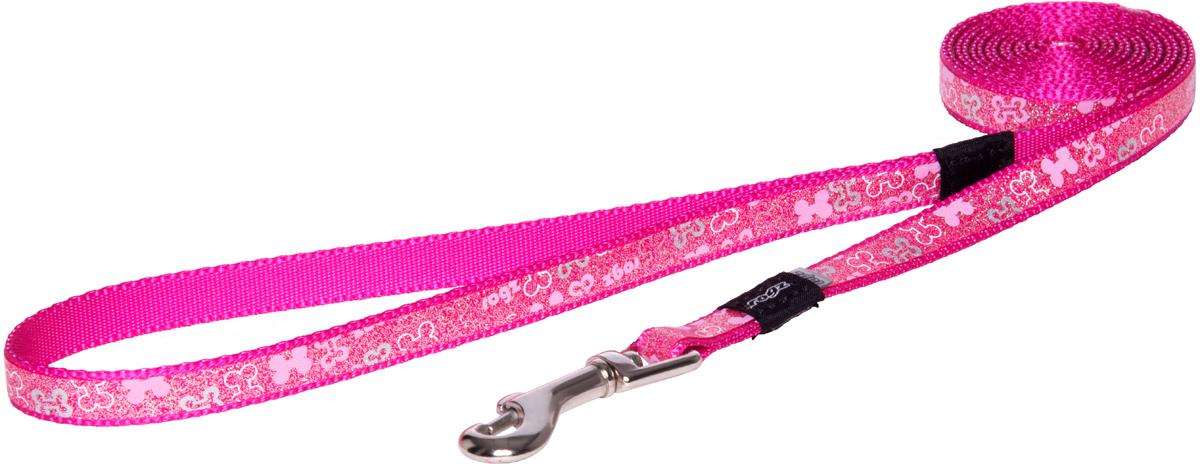 Поводок для собак Rogz Trendy, удлиненный, цвет: розовый, ширина 1,2 см0120710Поводок для собак Rogz Trendy с веселым и ярким дизайном очень прочный и гибкий.Светоотражающие материалы для обеспечения лучшей видимости собаки в темное время суток.