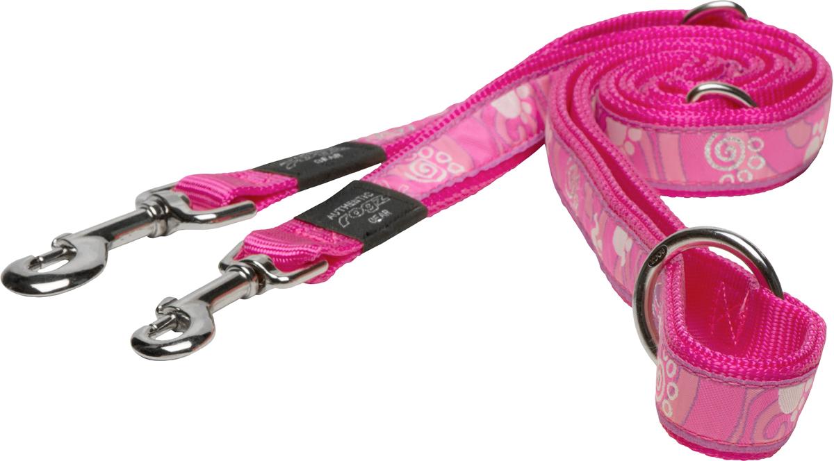 Поводок-перестежка для собак Rogz Fancy Dress, цвет: розовый, ширина 1,1 см0120710Поводок перестежка для собак Rogz Fancy Dress с потрясающе красивым орнаментом на прочной тесьме поверх нейлоновой ленты украсит вашего питомца.Очень крепкое и прочное изделие.Многофункциональный поводок-перестежку можно использовать как: поводок для двух собак; короткий, средний или удлиненный поводок (1м, 1.3м, 1.6м); поводок через плечо; временную привязь.Выполненные по заказу литые кольца выдерживают значительные физические нагрузки и имеют хромирование, нанесенное гальваническим способом, что позволяет избежать коррозии и потускнения изделия.