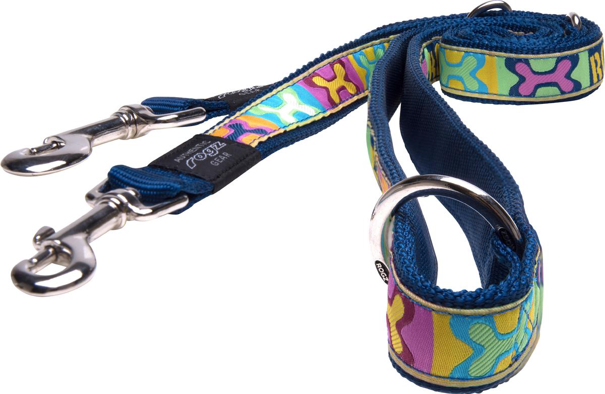 Поводок перестежка для собак Rogz Fancy Dress, ширина 2,5 см. Размер XL. HLM02BW0120710Необычный дизайн. Широкая гамма потрясающе красивых орнаментов на прочной тесьме поверх нейлоновой ленты украсит Вашего питомца.Очень крепкое и прочное изделие.Многофункциональный поводок-перестежку можно использовать как: поводок для двух собак; короткий, средний или удлиненный поводок (1м, 1.3м, 1.6м); поводок через плечо; временную привязь.Выполненные по заказу литые кольца выдерживают значительные физические нагрузки и имеют хромирование, нанесенное гальваническим способом, что позволяет избежать коррозии и потускнения изделия. Полотно: нейлоновая тесьма. Пряжки: ацетиловый пластик. Кольца: цинковое литье.