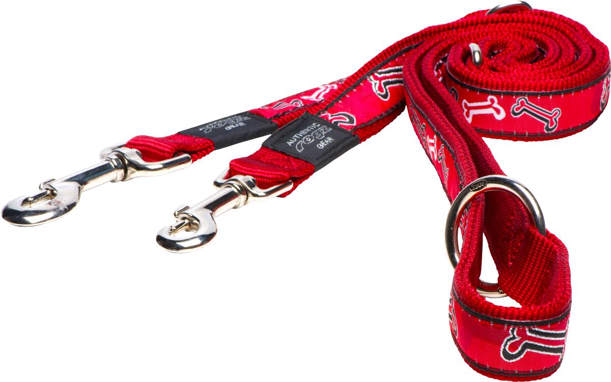 Поводок-перестежка для собак Rogz Fancy Dress, цвет: серый, ширина 2,5 см0120710Поводок перестежка для собак Rogz Fancy Dress с потрясающе красивым орнаментом на прочной тесьме поверх нейлоновой ленты украсит вашего питомца.Очень крепкое и прочное изделие.Многофункциональный поводок-перестежку можно использовать как: поводок для двух собак; короткий, средний или удлиненный поводок (1м, 1.3м, 1.6м); поводок через плечо; временную привязь.Выполненные по заказу литые кольца выдерживают значительные физические нагрузки и имеют хромирование, нанесенное гальваническим способом, что позволяет избежать коррозии и потускнения изделия.