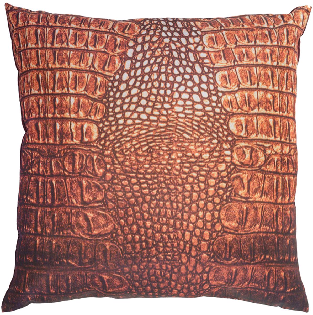Подушка декоративная GiftnHome Крокодил, цвет: оранжевый, 35 х 35 смU110DFПодушка декоративная GiftnHome Крокодил прекрасно дополнит интерьер спальни или гостиной. Чехол подушки выполнен из атласа (искусственный шелк) и оформлен изысканным орнаментом. В качестве наполнителя используется мягкий холлофайбер. Чехол снабжен потайной застежкой-молнией, благодаря чему его легко можно снять и постирать. Красивая подушка создаст атмосферу уюта в доме и станет прекрасным элементом декора.