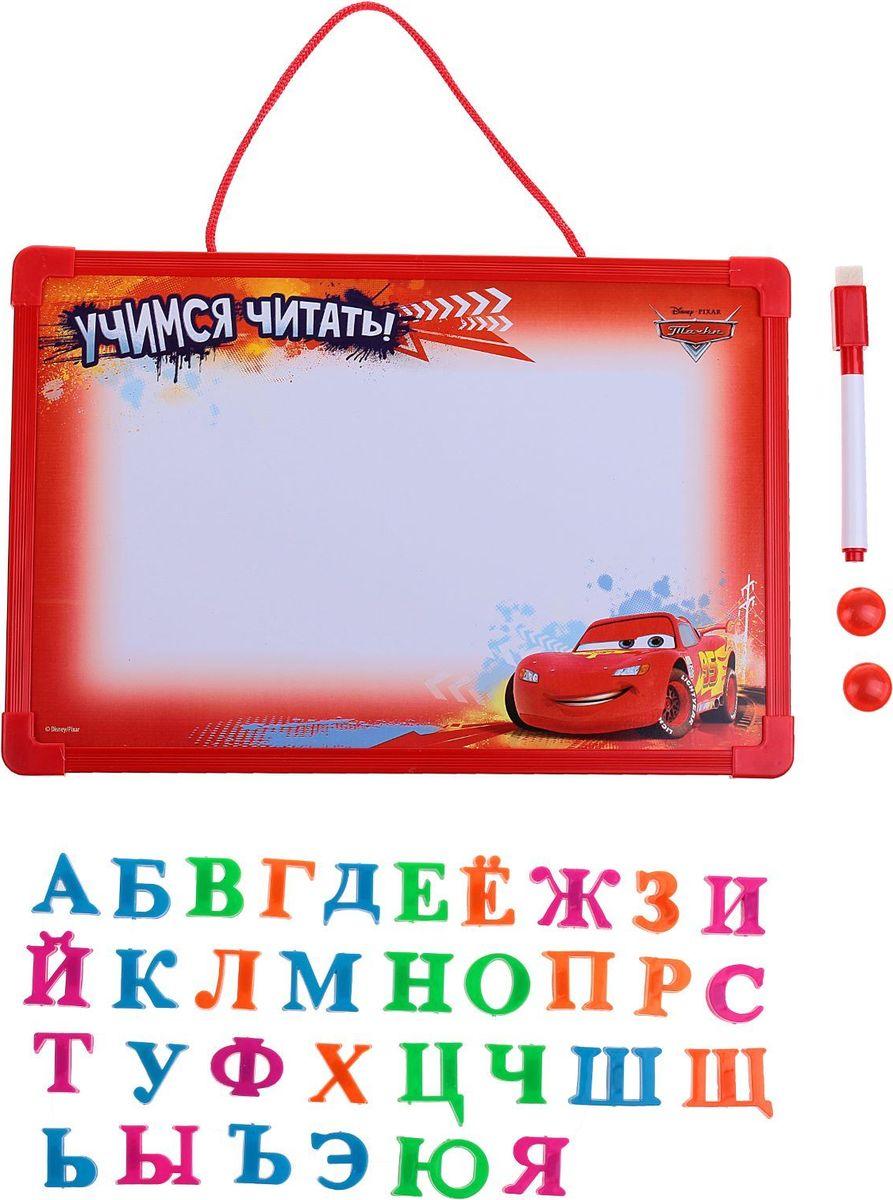 Играем! Учимся! Читаем!Магнитная доска поможет вам заинтересовать малыша изучением родной речи благодаря своему яркому дизайну и любимым героям Disney.На обороте вы найдёте несколько советов, которые облегчат знакомство ребёнка с алфавитом, а также увлекательные задания с красочными картинками.В комплектацию входят:доска магнитная — 30 ? 20 см;алфавит пластиковый на магнитной основе;два магнитика;маркер с магнитным колпачком и губкой.