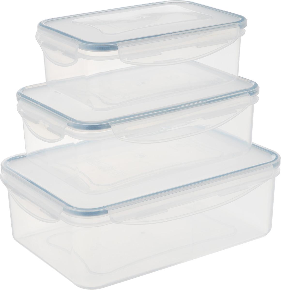 Набор контейнеров Tescoma Freshbox, 3 штVT-1520(SR)Набор Tescoma Freshbox состоит из трех контейнеров разного объема, изготовленных из высококачественного пластика, который не впитывает запахи и не изменяет цвет. Изделия снабжены крышками, плотно закрывающимися на 4 защелки. Герметичность достигается за счет специальных силиконовых прослоек, которые позволяют использовать контейнер для хранения не только пищи, но и жидкости. В таком контейнере продукты долгое время сохраняют свою свежесть. Прозрачные стенки позволяют просматривать содержимое. Изделия подходят для домашнего использования, в них удобно запекать, разогревать и хранить пищу. Можно использовать в СВЧ-печах, холодильниках, духовых шкафах, посудомоечных машинах, морозильных камерах. Размер контейнера на 1 л (без учета крышки): 18 х 12 х 6 см.Размер контейнера на 1,5 л (без учета крышки): 21 х 14 х 6,5 см.Размер контейнера на 2,5 л (без учета крышки): 24 х 17 х 7,5 см.