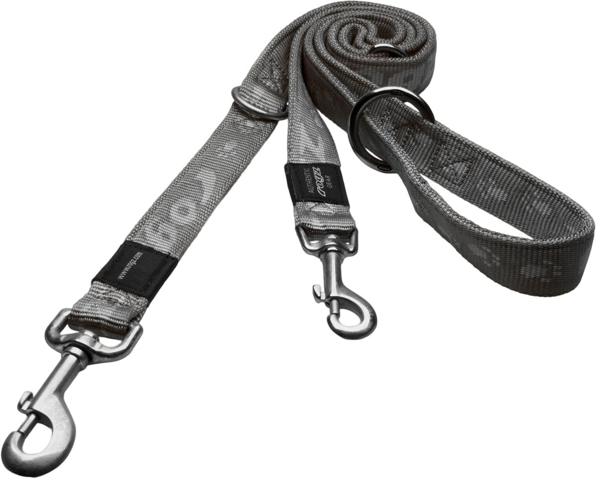 Поводок-перестежка для собак Rogz Alpinist, цвет: серый, ширина 2 см. Размер L12171996Особо мягкий, но очень прочный поводок Rogz Alpinist обеспечит безопасность на прогулке даже самым активным собакам.Все соединения деталей имеют специальную дополнительную строчку для большей прочности.Выполненные специально по заказу Rogz литые кольца гальванически хромированы, что позволяет избежать коррозии и потускнения изделия.Многофункциональный поводок-перестежку можно использовать как: поводок для двух собак; короткий, средний или удлиненный поводок (1м, 1.3м, 1.6м); поводок через плечо; временную привязь.