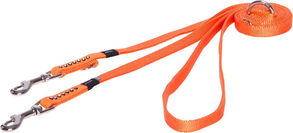 Поводок-перестежка для собак Rogz Luna, цвет: оранжевый, ширина 1,1 см. Размер XS0120710Поводок для собак Rogz Luna изготовлен из 100% полиэстера, искусственной кожи и снабжен металлическим карабином. Поводок украшен стразами.Многофункциональный поводок-перестежку можно использовать как: поводок для двух собак; короткий, средний или удлиненный поводок (1м, 1.3м, 1.6м); поводок через плечо; временную привязь. Поводок отличается не только исключительной надежностью и удобством, но и ярким дизайном.