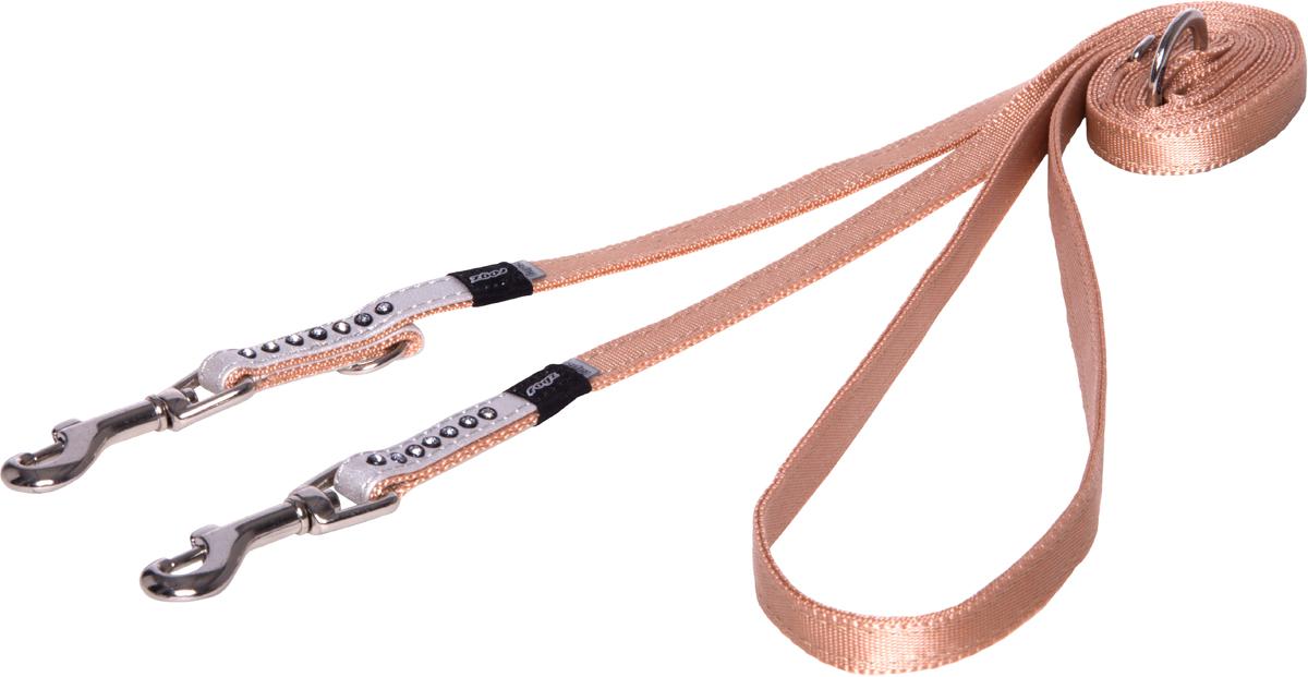 Поводок-перестежка для собак Rogz Luna, цвет: белый, ширина 1,1 см. Размер XS12171996Поводок для собак Rogz Luna изготовлен из 100% полиэстера, искусственной кожи и снабжен металлическим карабином. Поводок украшен стразами.Многофункциональный поводок-перестежку можно использовать как: поводок для двух собак; короткий, средний или удлиненный поводок (1м, 1.3м, 1.6м); поводок через плечо; временную привязь. Поводок отличается не только исключительной надежностью и удобством, но и ярким дизайном.