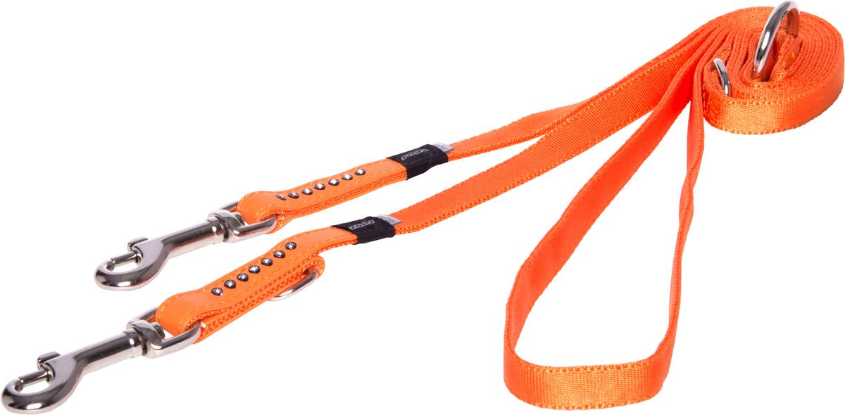Поводок-перестежка для собак Rogz Luna, цвет: оранжевый, ширина 1,3 см. Размер S0120710Поводок для собак Rogz Luna изготовлен из 100% полиэстера, искусственной кожи и снабжен металлическим карабином. Поводок украшен стразами.Многофункциональный поводок-перестежку можно использовать как: поводок для двух собак; короткий, средний или удлиненный поводок (1м, 1.3м, 1.6м); поводок через плечо; временную привязь. Поводок отличается не только исключительной надежностью и удобством, но и ярким дизайном.
