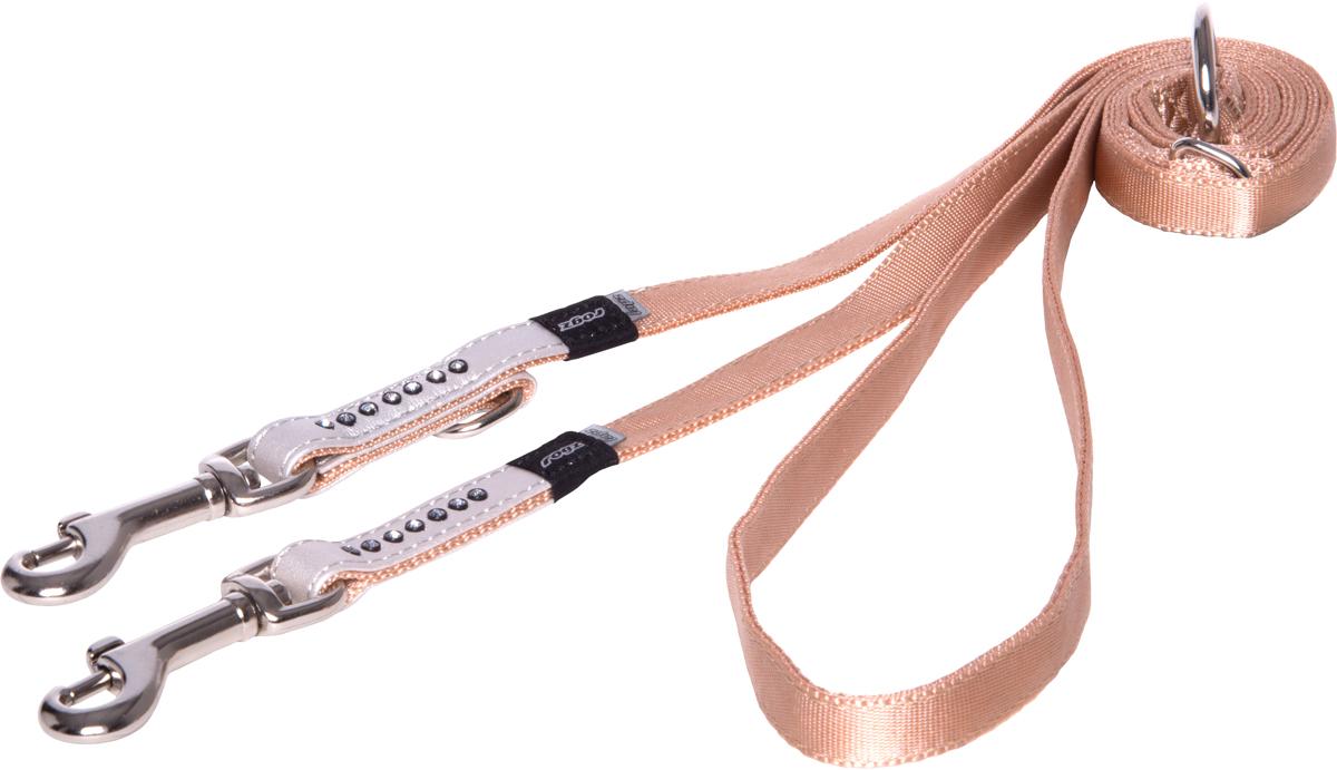 Поводок-перестежка для собак Rogz Luna, цвет: белый, ширина 1,3 см. Размер S0120710Поводок для собак Rogz Luna изготовлен из 100% полиэстера, искусственной кожи и снабжен металлическим карабином. Поводок украшен стразами.Многофункциональный поводок-перестежку можно использовать как: поводок для двух собак; короткий, средний или удлиненный поводок (1м, 1.3м, 1.6м); поводок через плечо; временную привязь. Поводок отличается не только исключительной надежностью и удобством, но и ярким дизайном.