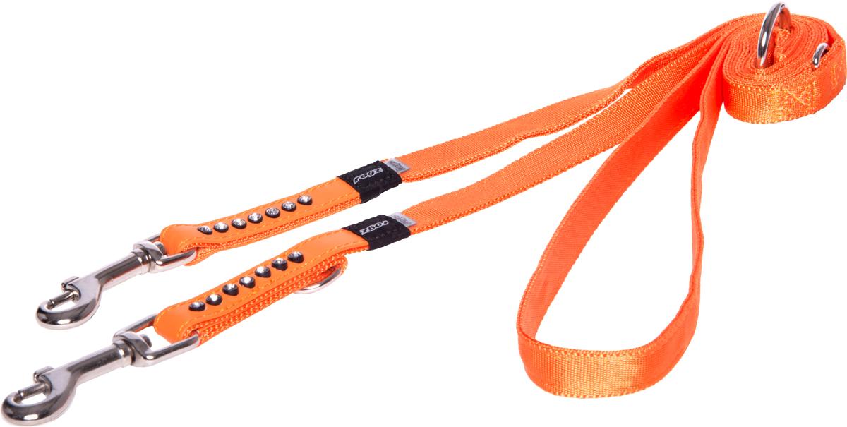 Поводок-перестежка для собак Rogz Luna, цвет: оранжевый, ширина 1,6 см. Размер MHL03CCПоводок для собак Rogz Luna изготовлен из 100% полиэстера, искусственной кожи и снабжен металлическим карабином. Поводок украшен стразами.Многофункциональный поводок-перестежку можно использовать как: поводок для двух собак; короткий, средний или удлиненный поводок (1м, 1.3м, 1.6м); поводок через плечо; временную привязь. Поводок отличается не только исключительной надежностью и удобством, но и ярким дизайном.