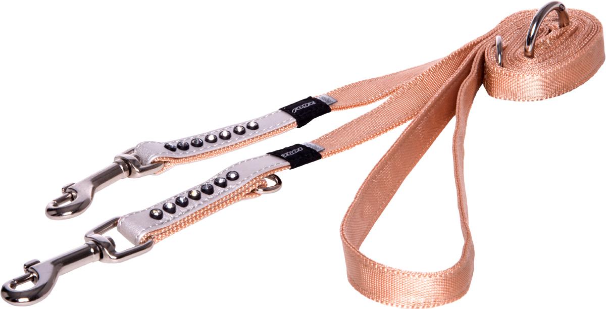 Поводок-перестежка для собак Rogz Luna, цвет: белый, ширина 1,6 см. Размер M0120710Поводок для собак Rogz Luna изготовлен из 100% полиэстера, искусственной кожи и снабжен металлическим карабином. Поводок украшен стразами.Многофункциональный поводок-перестежку можно использовать как: поводок для двух собак; короткий, средний или удлиненный поводок (1м, 1.3м, 1.6м); поводок через плечо; временную привязь. Поводок отличается не только исключительной надежностью и удобством, но и ярким дизайном.