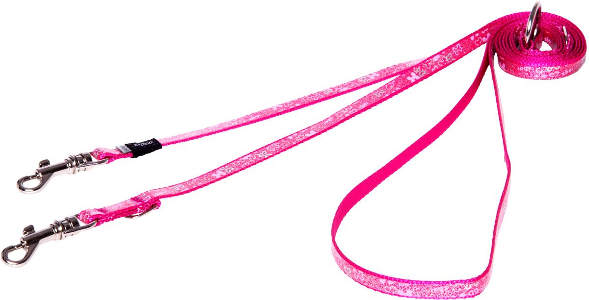 Поводок-перестежка для собак Rogz Trendy, цвет: розовый, ширина 0,8 см0120710Поводок-перестежка для собак Rogz Trendy с веселым и ярким дизайном очень прочный и гибкий.Многофункциональный поводок-перестежку можно использовать как: поводок для двух собак; короткий, средний или удлиненный поводок (1м, 1.3м, 1.6м); поводок через плечо; временную привязь.Светоотражающие материалы для обеспечения лучшей видимости собаки в темное время суток.