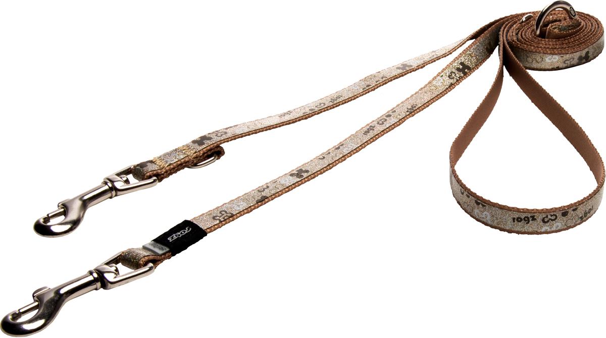 Поводок-перестежка для собак Rogz Trendy, цвет: коричневый, ширина 1,2 смHLM521JПоводок-перестежка для собак Rogz Trendy с веселым и ярким дизайном очень прочный и гибкий.Многофункциональный поводок-перестежку можно использовать как: поводок для двух собак; короткий, средний или удлиненный поводок (1м, 1.3м, 1.6м); поводок через плечо; временную привязь.Светоотражающие материалы для обеспечения лучшей видимости собаки в темное время суток.
