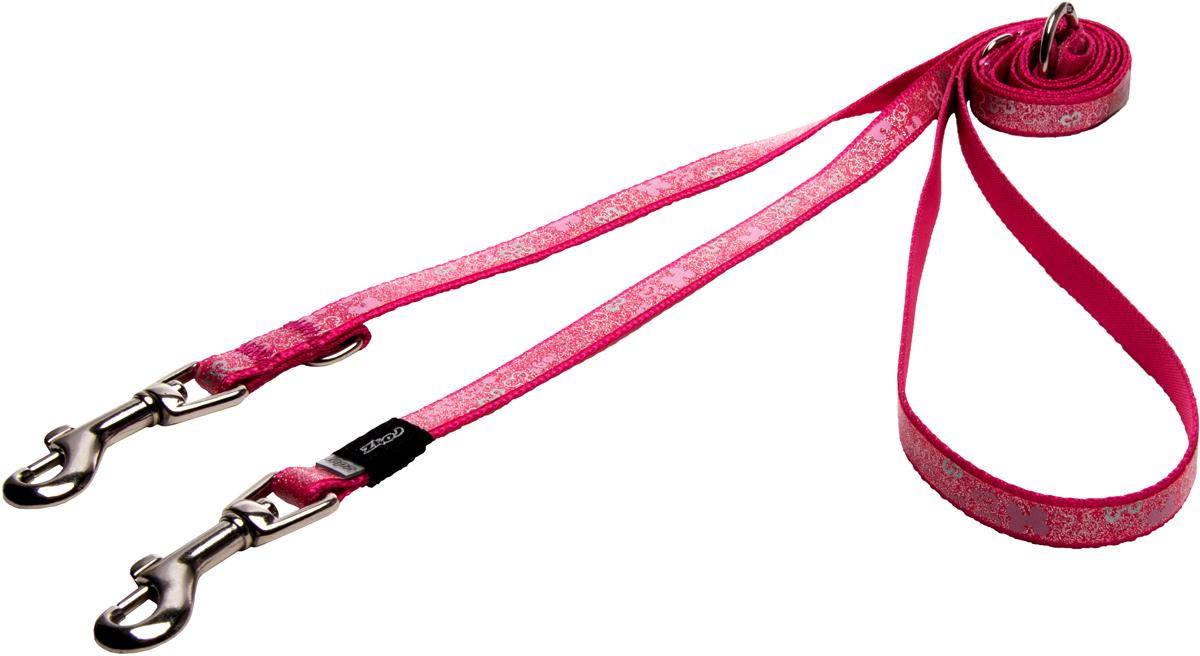 Поводок-перестежка для собак Rogz Trendy, цвет: розовый, ширина 1,2 см12171996Поводок-перестежка для собак Rogz Trendy с веселым и ярким дизайном очень прочный и гибкий.Многофункциональный поводок-перестежку можно использовать как: поводок для двух собак; короткий, средний или удлиненный поводок (1м, 1.3м, 1.6м); поводок через плечо; временную привязь.Светоотражающие материалы для обеспечения лучшей видимости собаки в темное время суток.
