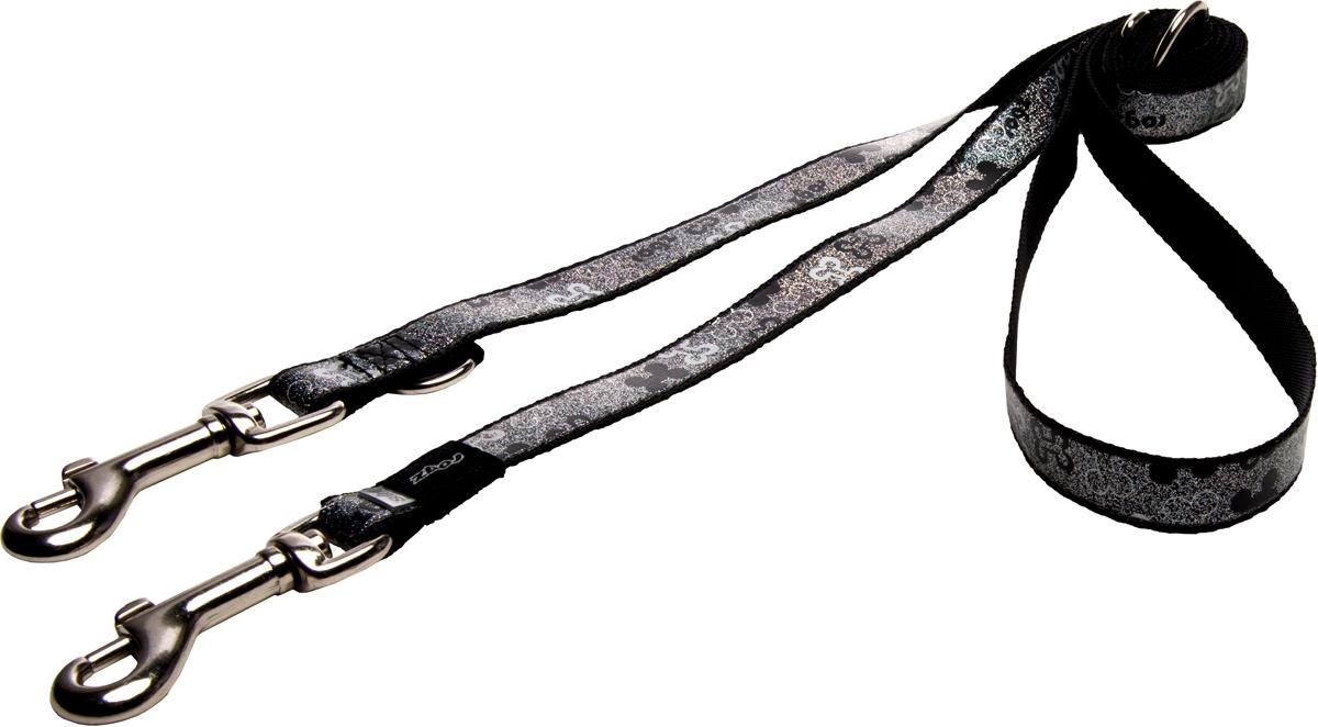 Поводок-перестежка для собак Rogz Trendy, цвет: черный, ширина 1,6 см0120710Поводок-перестежка для собак Rogz Trendy с веселым и ярким дизайном очень прочный и гибкий.Многофункциональный поводок-перестежку можно использовать как: поводок для двух собак; короткий, средний или удлиненный поводок (1м, 1.3м, 1.6м); поводок через плечо; временную привязь.Светоотражающие материалы для обеспечения лучшей видимости собаки в темное время суток.