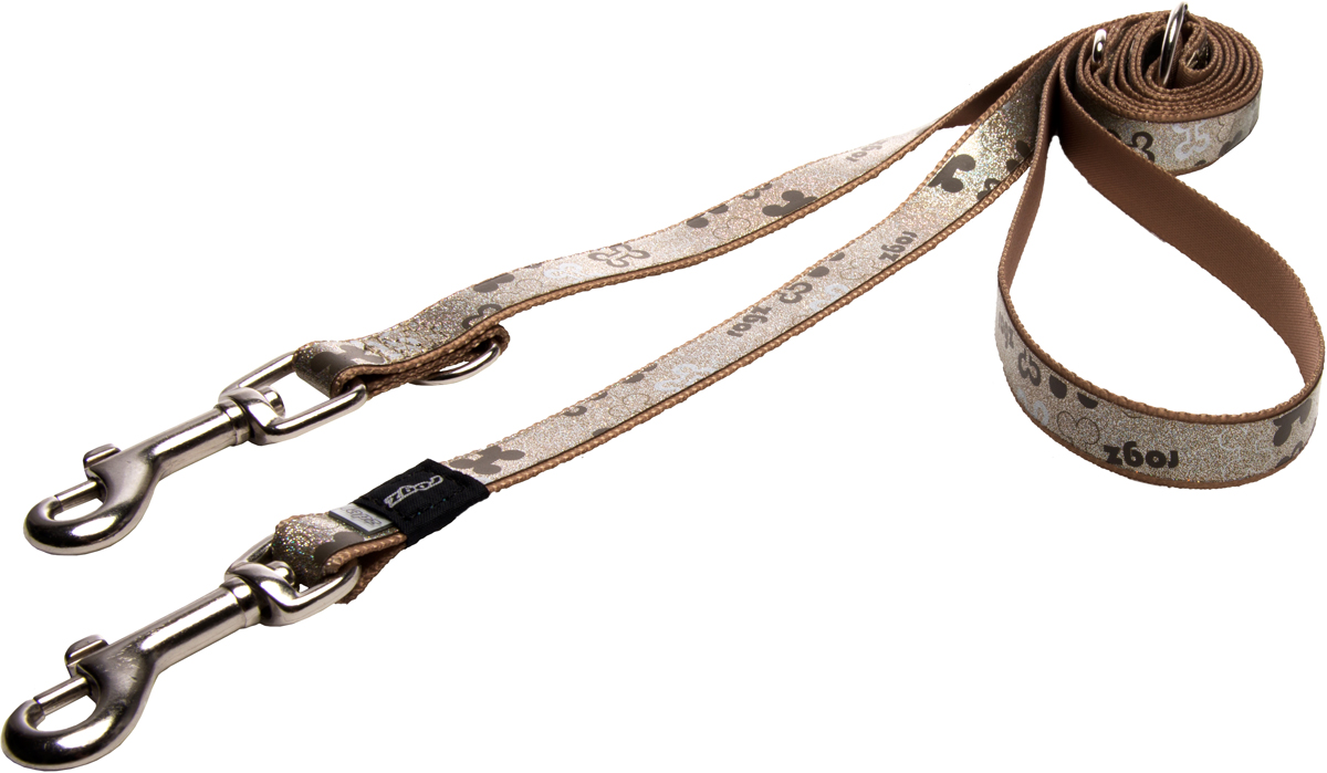 Поводок-перестежка для собак Rogz Trendy, цвет: коричневый, ширина 1,6 см0120710Поводок-перестежка для собак Rogz Trendy с веселым и ярким дизайном очень прочный и гибкий.Многофункциональный поводок-перестежку можно использовать как: поводок для двух собак; короткий, средний или удлиненный поводок (1м, 1.3м, 1.6м); поводок через плечо; временную привязь.Светоотражающие материалы для обеспечения лучшей видимости собаки в темное время суток.