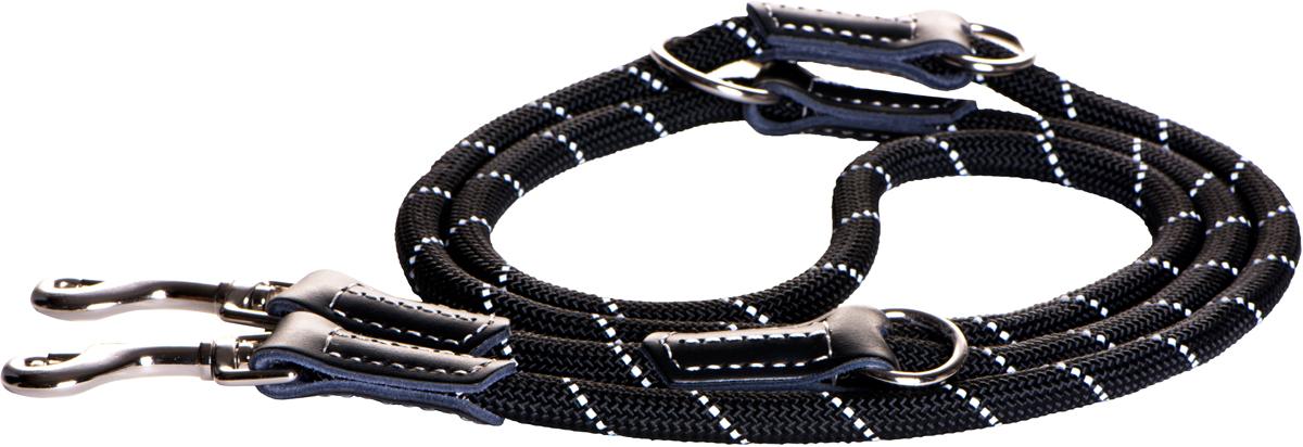 Поводок-перестежка для собак Rogz Rope, цвет: черный, ширина 0,9 см. Размер MHLMR09AПоводок перестежка для собак Rogz Rope выполнен из очень мягкого, но прочного нейлона, который не причинит неудобства собаке. Высококачественная тесьма особого плетения, удивительно мягкая на ощупь, не стирает и не путает шерсть даже длинношерстным собакам. Особо прочный закругленный нейлон препятствует разгрызанию и деформации изделий. Выполненные по заказу литые кольца выдерживают значительные физические нагрузки и имеют хромирование, нанесенное гальваническим способом, что позволяет избежать коррозии и потускнения изделия.Светоотражающая нить, вплетенная в нейлоновую ленту, обеспечивает видимость животного в темное время суток.Многофункциональный поводок-перестежку можно использовать как: поводок для двух собак; короткий, средний или удлиненный поводок (1м, 1.3м, 1.6м); поводок через плечо; временную привязь.Элементы изделия выполнены из 100% кожи.