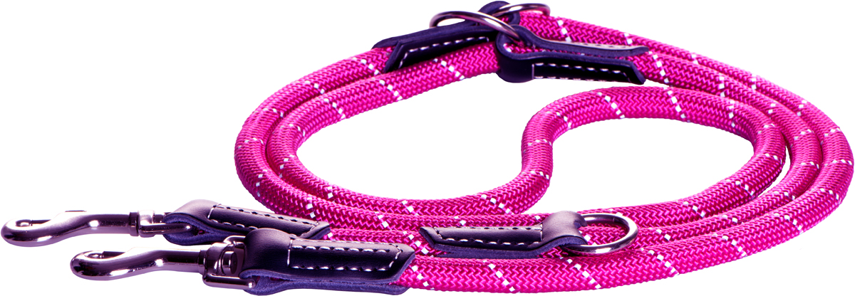 Поводок-перестежка для собак Rogz Rope, цвет: розовый, ширина 0,9 см. Размер MSJ03BWПоводок перестежка для собак Rogz Rope выполнен из очень мягкого, но прочного нейлона, который не причинит неудобства собаке. Высококачественная тесьма особого плетения, удивительно мягкая на ощупь, не стирает и не путает шерсть даже длинношерстным собакам. Особо прочный закругленный нейлон препятствует разгрызанию и деформации изделий. Выполненные по заказу литые кольца выдерживают значительные физические нагрузки и имеют хромирование, нанесенное гальваническим способом, что позволяет избежать коррозии и потускнения изделия.Светоотражающая нить, вплетенная в нейлоновую ленту, обеспечивает видимость животного в темное время суток.Многофункциональный поводок-перестежку можно использовать как: поводок для двух собак; короткий, средний или удлиненный поводок (1м, 1.3м, 1.6м); поводок через плечо; временную привязь.Элементы изделия выполнены из 100% кожи.